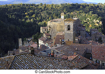 View of the Tuscan hill town of Sorano, Italy