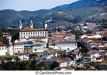 View of the unesco world heritage city of Ouro Preto in Minas Gerais Brazil