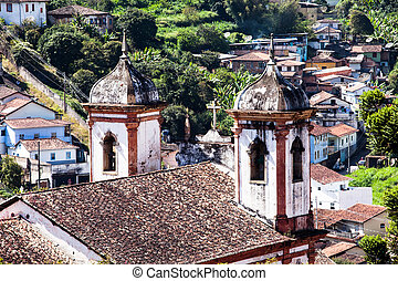View of the unesco world heritage city of Ouro Preto in...