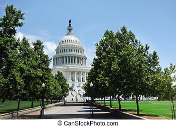 View of the United States Capitol building and walkway, in Washington DC