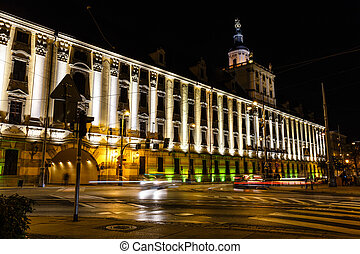 view of the university building in Wroclaw at night, Poland