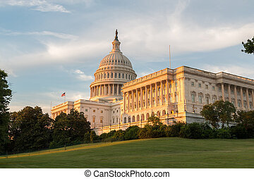 View of the US Capitol building at dusk with green grass