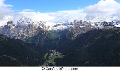 view of the valley at the Dolomites mountains in Italy