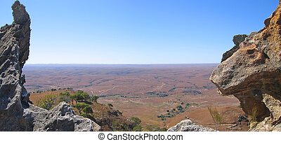 View of the valley between two moutain peaks, Isalo park, ...