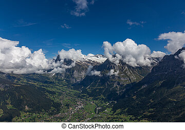 view of the valley from the peak of the swiss alps