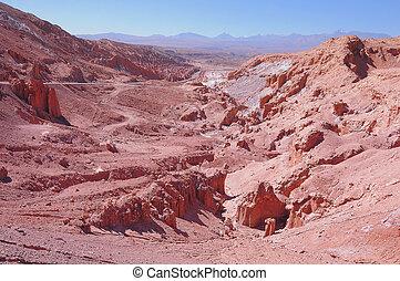 View of the valley in Atacama desert.