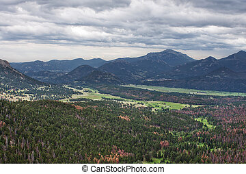 view of the valley in Rocky Mountains as seen from Many Parks Curve, Colorado