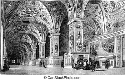 View of the Vatican Library in the eighteenth century,...