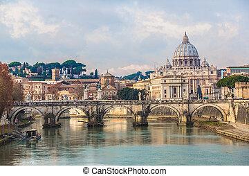 Saint Peter's basilica and Saint Angelo bridge in Rome