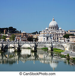 Vatican - View of the Vatican with Saint Peter\\\'s Basilica...