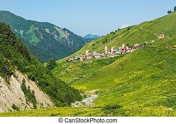 View of the village Adishi, Georgia