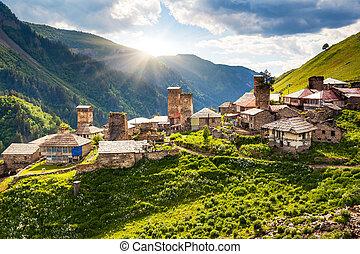 village - View of the village Adishi. Upper Svaneti,...