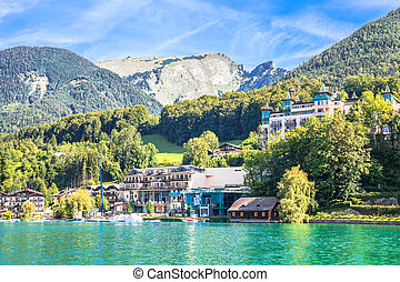 View of the village at Wolfgangsee Lake