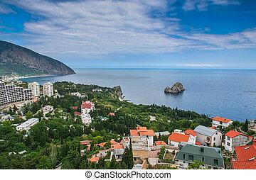 View of the village of Gurzuf. Big Yalta, Crimea, Ukraine. May 2008
