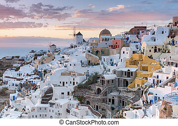 View of the village Oia at dawn.