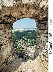 View of the village Visnove from the ruins of castle...