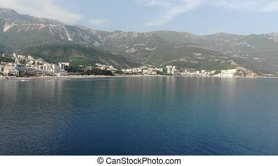 View of the villages of Rafailovici and Becici from the sea,...
