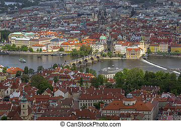 Czech Republic, Prague-View of the Vltava river and Charles bridge (Karluv most)  in Prague