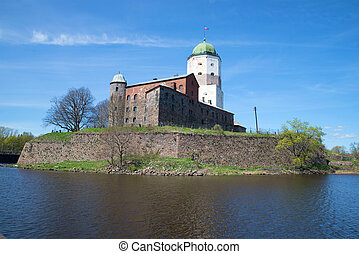 View of the Vyborg old Castle on a sunny day in May. Leningrad region, Russia