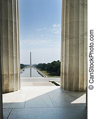 Washington Monument and national mall reflecting pool from the Lincoln Memorial