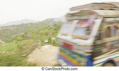 View of the way by bus from Pokhara to Kathmandu, Nepal. -...