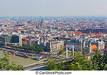 View of the White bridge in Budapest from height of bird's flight