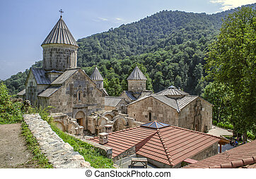 View of the whole complex of the monastery Haghartsin, located in the mountains and surrounded by forest about the village of gosh, near the town of Dilijan
