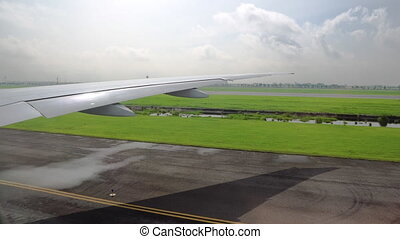 view of the wing of the aircraft from the window. aviation and passenger transportation