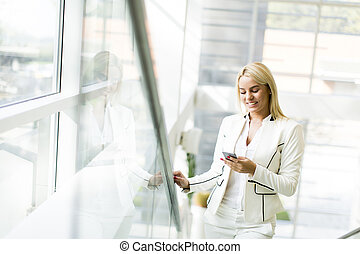 View of the woman with a phone