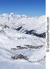 View of Tignes in winter