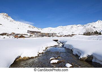 Tignes village in winter