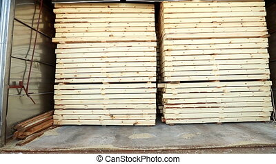 View of timber folded in manufacturing warehouse