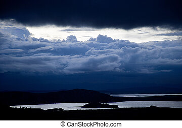 View of Titicaca Lake, at the border of Peru and Bolivia, South America.