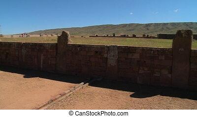 View Of Tiwanaku Wall Ruins, La Paz Bolivia - Medium high...