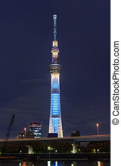 View of Tokyo Sky Tree at night, the highest free-standing structure in Japan.