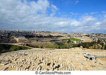 View of tombs on Mount of Olives and Old City of Jerusalem, Israel.