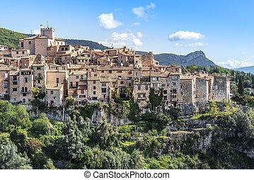 View of Tourrettes-sur-Loup village in Southeastern France, Alpes Maritimes.
