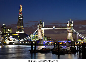 View of Tower Bridge and the Shard in London