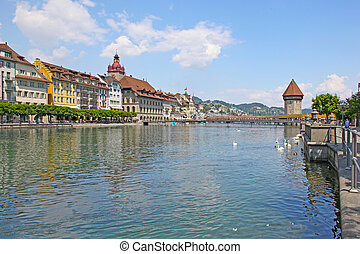 View of town on the river . Lucerne. Switzerland