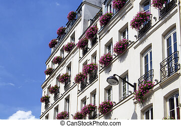 View of traditional building in Paris. French balconies with full of pink flowers.