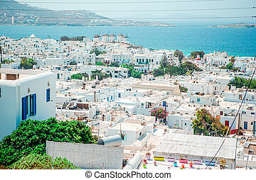 View of traditional greek village with white houses on Mykonos Island, Greece,