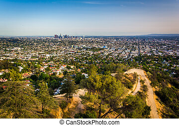 View of trails in Griffith Park and Los Angeles from Griffith Ob