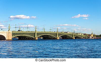 View of Trinity Bridge in Saint Petersburg - Russia