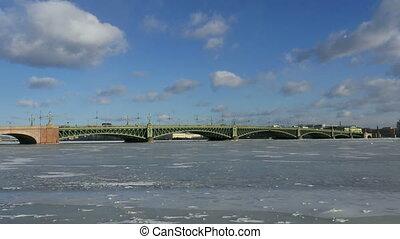 Troitsky drawbridge in St. Petersburg