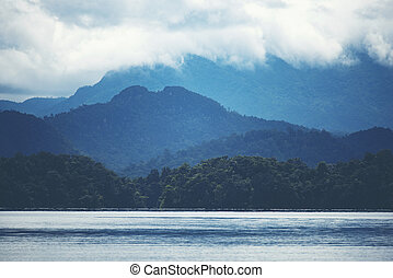 view of tropical forest with lake, Thailand