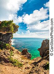 View of tropical idyllic paradise on amazing fantasy island