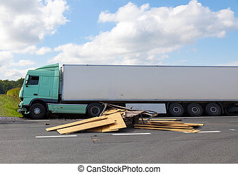 View of truck on an highway in an accident