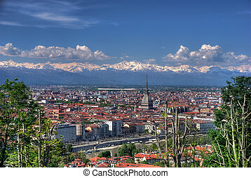 View of Turin city from the hill