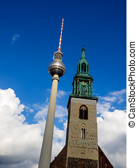 View of Tv Tower of Berlin with Maria church - Germany