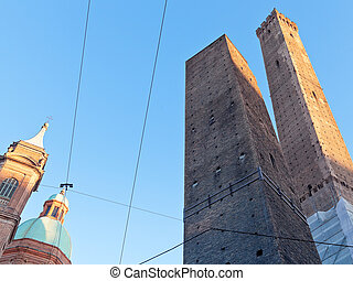 view of two tower in Bologna